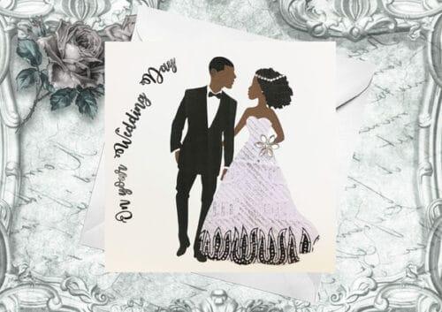 black couple wedding card