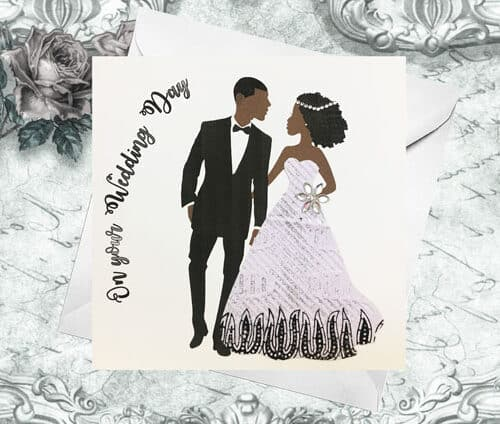 black couple wedding card