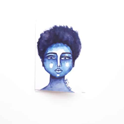 Black Woman's Greeting Card Little Blue by Stacey-Ann Cole