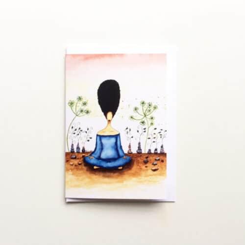 Black Woman's Greeting Card Needing Stillness by Stacey-Ann Cole