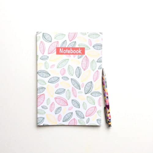 Scattered Leaves Patterned Notebook by Stacey-Ann Cole