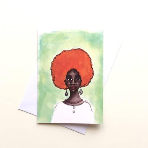 Black Greeting Card for Women 'Desta' by Artist Stacey-Ann Cole