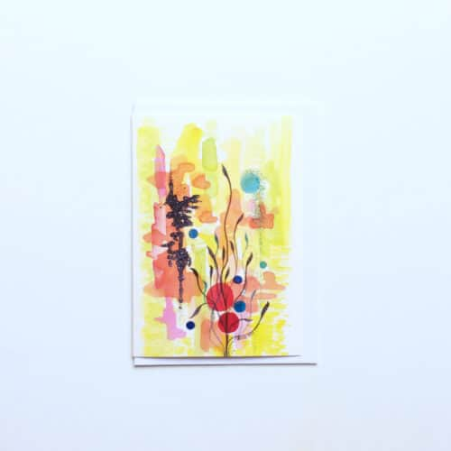 Mixed Media Abstract Greeting Card 'Japanese Garden' by Artist Stacey-Ann Cole