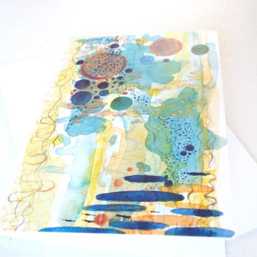 Mixed Media Abstract Greeting Card 'Tide Pool' by Artist Stacey-Ann Cole