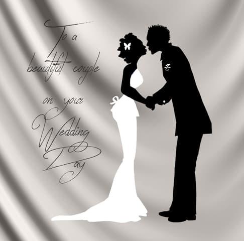 Black illustrated Wedding card by Nsaa Nefateri