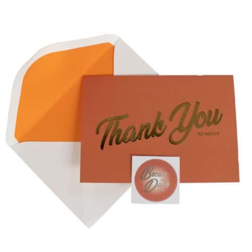 Terracotta card, envelope and envelope seal sticker