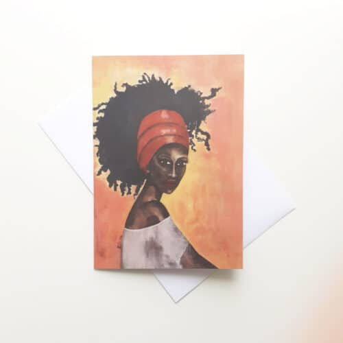 'Worthy' Black Greeting Card by Stacey-Ann Cole
