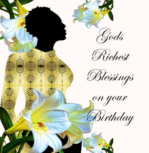 Religious woman black birthday card