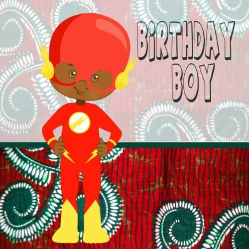 Super hero birthday card for young black boy